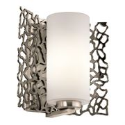 Silver Coral Single Wall Light in a Classic Pewter Finish and Frosted Glass - KICHLER KL/SILCORAL1